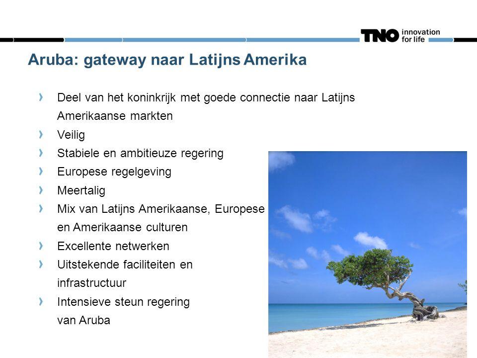 23 Aruba: gateway naar Latijns Amerika Deel van het koninkrijk met goede connectie naar Latijns Amerikaanse markten Veilig Stabiele en ambitieuze rege