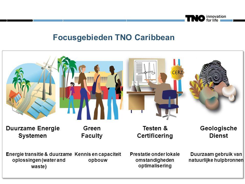 Focusgebieden TNO Caribbean Duurzame Energie Systemen Green Faculty Testen & Certificering Geologische Dienst Energie transitie & duurzame oplossingen (water and waste ) Kennis en capaciteit opbouw Prestatie onder lokale omstandigheden optimalisering Duurzaam gebruik van natuurlijke hulpbronnen
