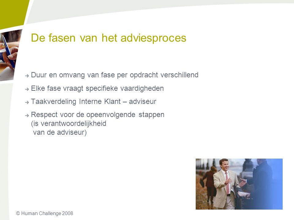 © Human Challenge 2008 De fasen van het adviesproces Duur en omvang van fase per opdracht verschillend Elke fase vraagt specifieke vaardigheden Taakve
