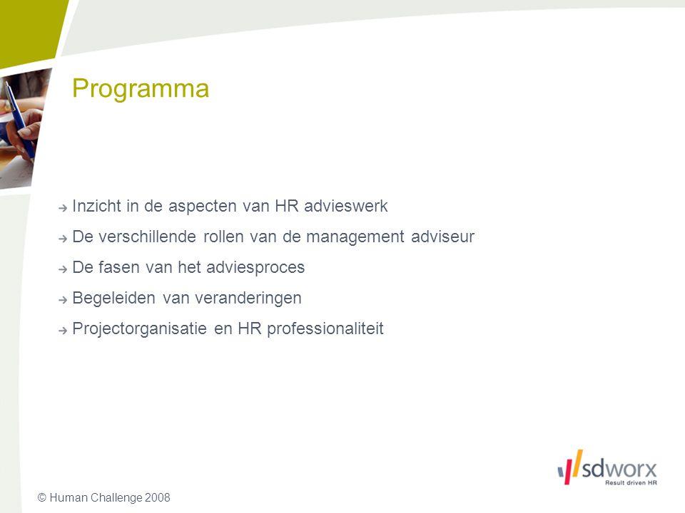 © Human Challenge 2008 Programma Inzicht in de aspecten van HR advieswerk De verschillende rollen van de management adviseur De fasen van het adviespr