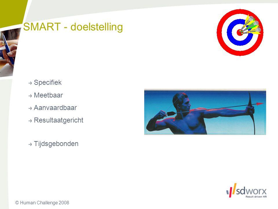 © Human Challenge 2008 SMART - doelstelling Specifiek Meetbaar Aanvaardbaar Resultaatgericht Tijdsgebonden 25