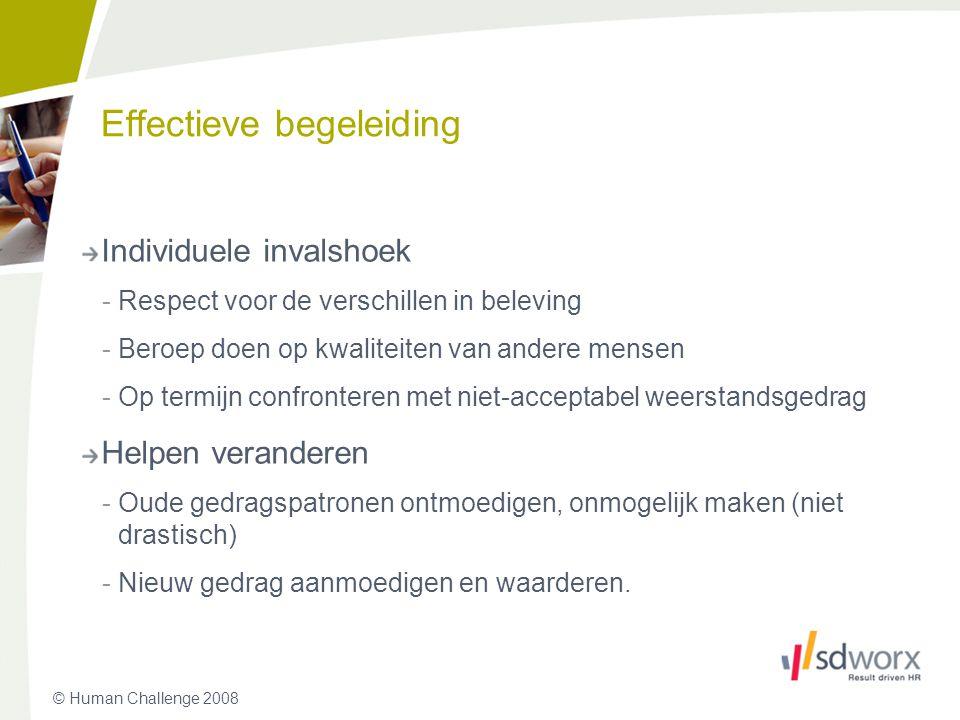 © Human Challenge 2008 Effectieve begeleiding Individuele invalshoek -Respect voor de verschillen in beleving -Beroep doen op kwaliteiten van andere m