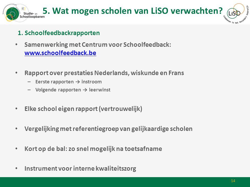 14 • Samenwerking met Centrum voor Schoolfeedback: www.schoolfeedback.be www.schoolfeedback.be • Rapport over prestaties Nederlands, wiskunde en Frans
