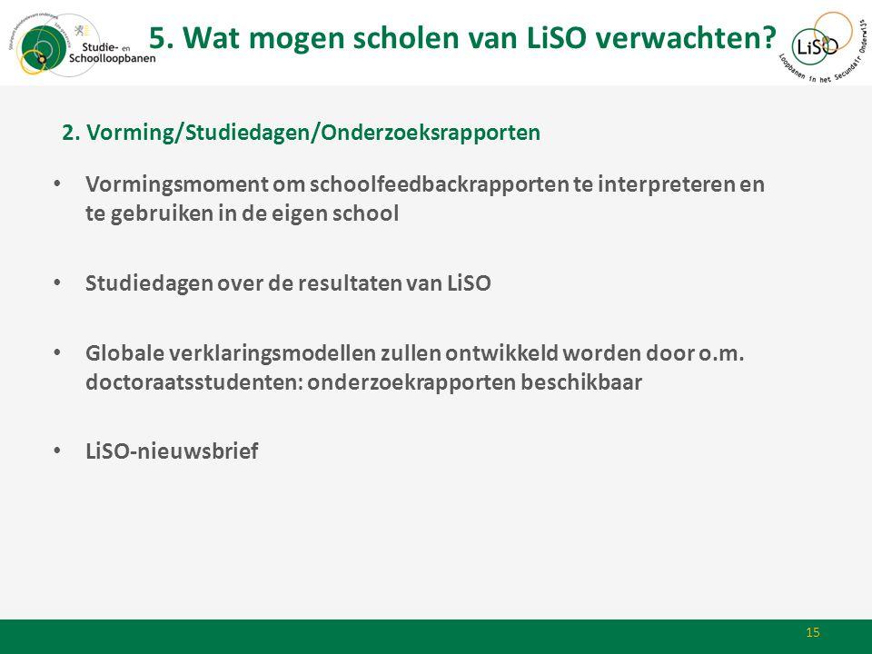 15 • Vormingsmoment om schoolfeedbackrapporten te interpreteren en te gebruiken in de eigen school • Studiedagen over de resultaten van LiSO • Globale