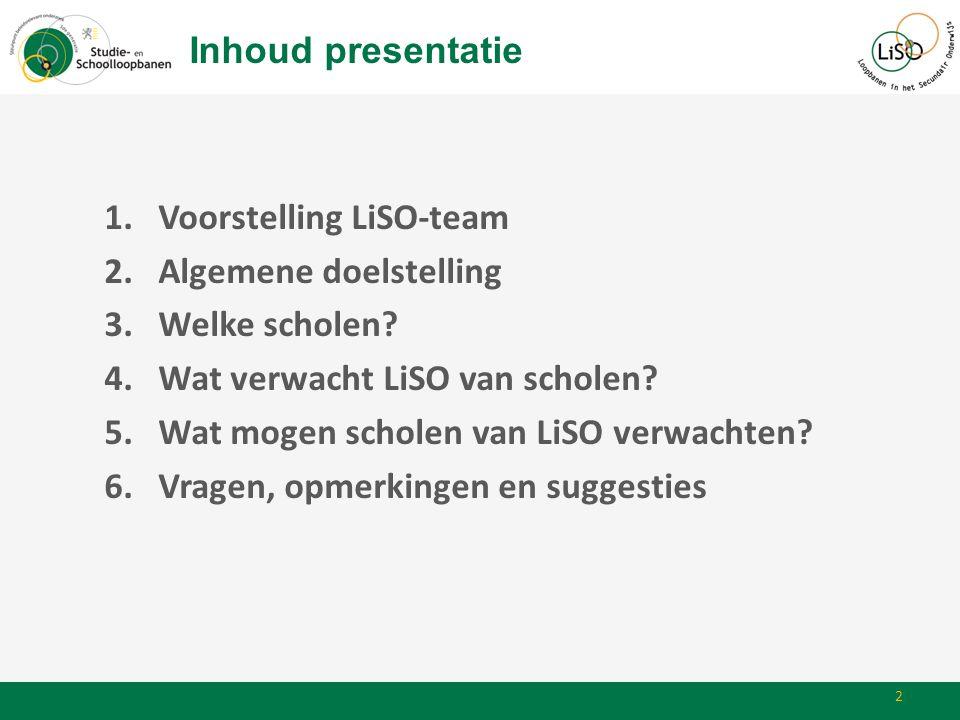 Inhoud presentatie 1.Voorstelling LiSO-team 2.Algemene doelstelling 3.Welke scholen? 4.Wat verwacht LiSO van scholen? 5.Wat mogen scholen van LiSO ver