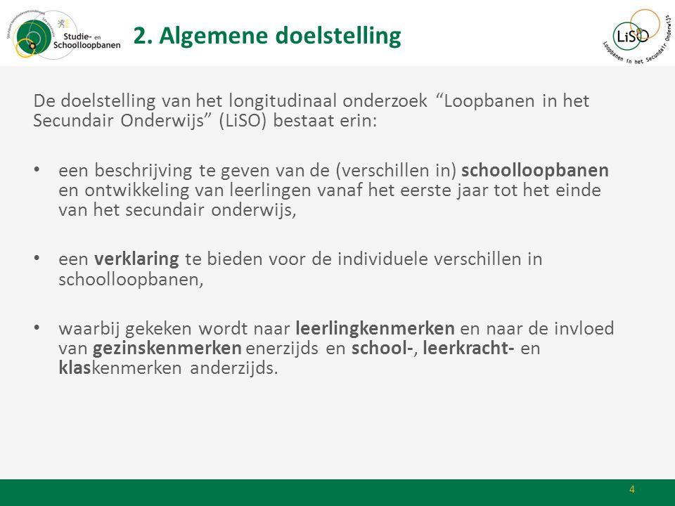 """2. Algemene doelstelling De doelstelling van het longitudinaal onderzoek """"Loopbanen in het Secundair Onderwijs"""" (LiSO) bestaat erin: • een beschrijvin"""