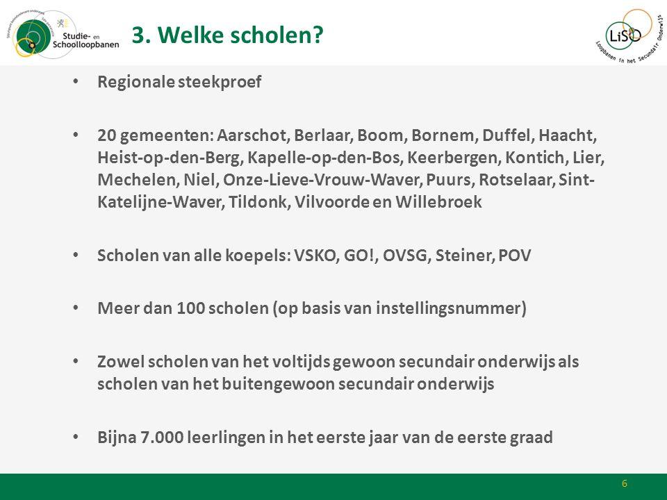 • Regionale steekproef • 20 gemeenten: Aarschot, Berlaar, Boom, Bornem, Duffel, Haacht, Heist-op-den-Berg, Kapelle-op-den-Bos, Keerbergen, Kontich, Li