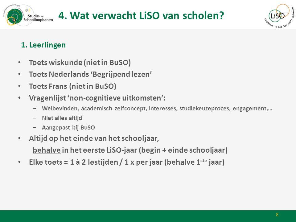 4. Wat verwacht LiSO van scholen? 8 • Toets wiskunde (niet in BuSO) • Toets Nederlands 'Begrijpend lezen' • Toets Frans (niet in BuSO) • Vragenlijst '