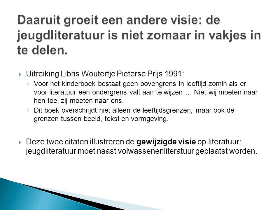  Uitreiking Libris Woutertje Pieterse Prijs 1991: ◦ Voor het kinderboek bestaat geen bovengrens in leeftijd zomin als er voor literatuur een ondergre