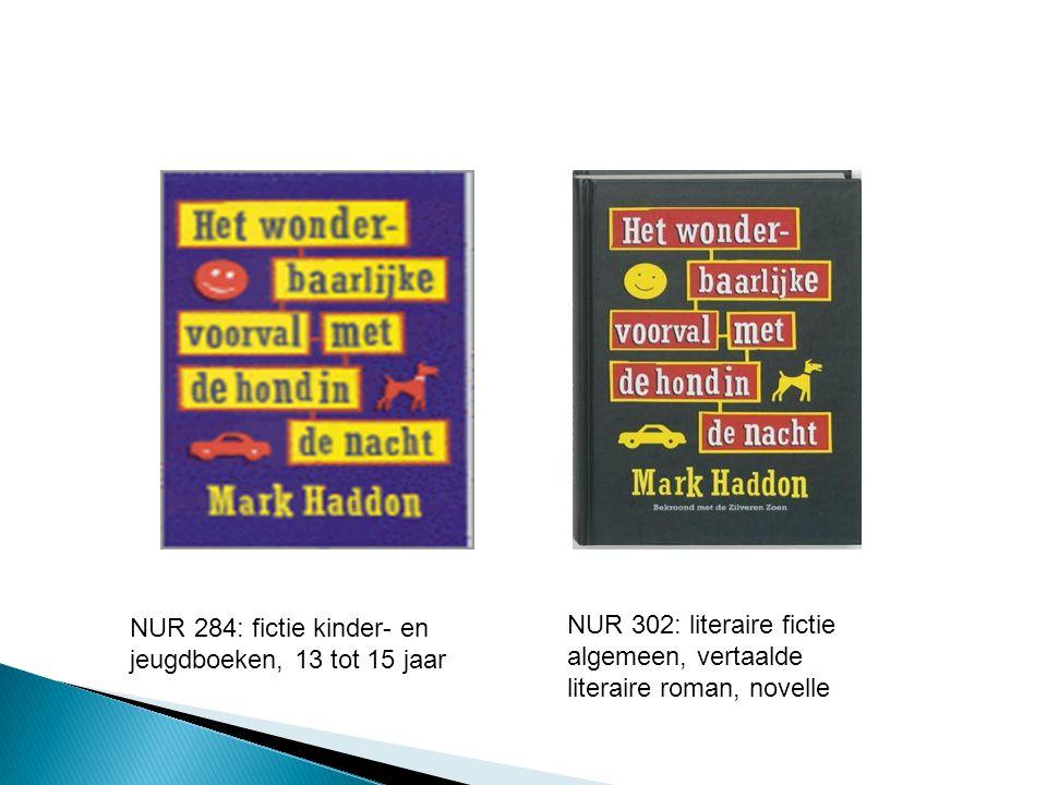 NUR 302: literaire fictie algemeen, vertaalde literaire roman, novelle NUR 284: fictie kinder- en jeugdboeken, 13 tot 15 jaar
