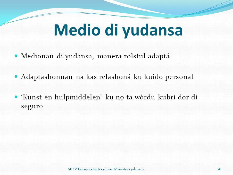  Medionan di yudansa, manera rolstul adaptá  Adaptashonnan na kas relashoná ku kuido personal  'Kunst en hulpmiddelen' ku no ta wòrdu kubri dor di