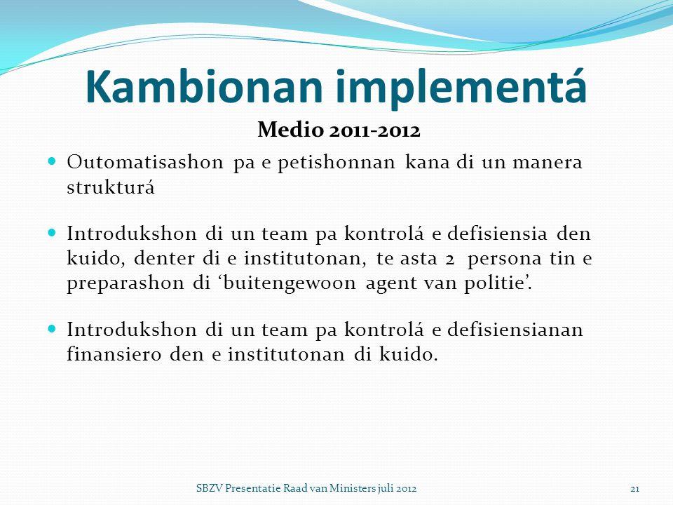  Outomatisashon pa e petishonnan kana di un manera strukturá  Introdukshon di un team pa kontrolá e defisiensia den kuido, denter di e institutonan,