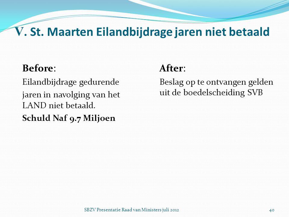 V. St. Maarten Eilandbijdrage jaren niet betaald Before : Eilandbijdrage gedurende jaren in navolging van het LAND niet betaald. Schuld Naf 9.7 Miljoe