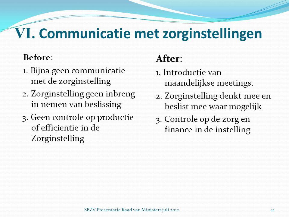 VI. Communicatie met zorginstellingen Before: 1. Bijna geen communicatie met de zorginstelling 2. Zorginstelling geen inbreng in nemen van beslissing