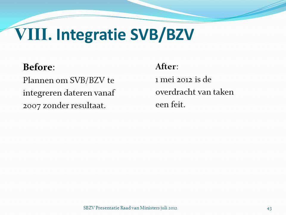 VIII. Integratie SVB/BZV Before: Plannen om SVB/BZV te integreren dateren vanaf 2007 zonder resultaat. After: 1 mei 2012 is de overdracht van taken ee