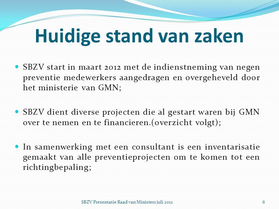  SBZV start in maart 2012 met de indienstneming van negen preventie medewerkers aangedragen en overgeheveld door het ministerie van GMN;  SBZV dient