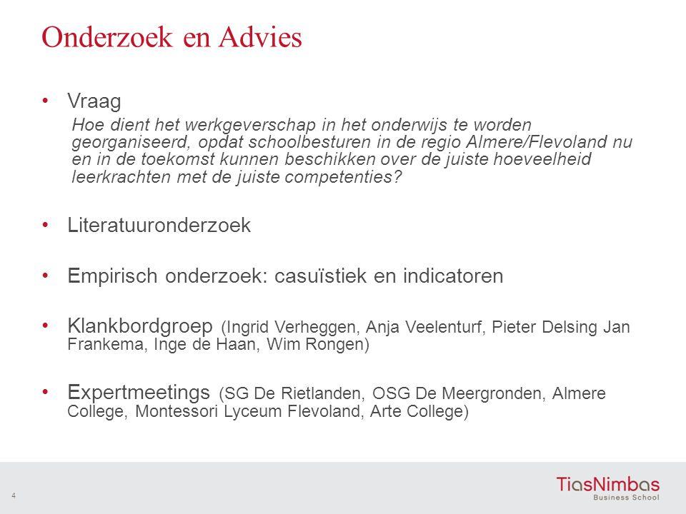 Onderzoek en Advies •Vraag Hoe dient het werkgeverschap in het onderwijs te worden georganiseerd, opdat schoolbesturen in de regio Almere/Flevoland nu