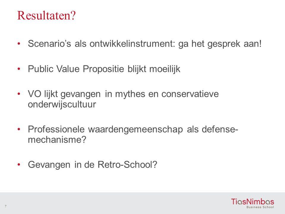 Resultaten? •Scenario's als ontwikkelinstrument: ga het gesprek aan! •Public Value Propositie blijkt moeilijk •VO lijkt gevangen in mythes en conserva