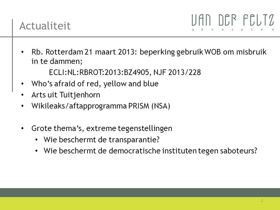 Actualiteit • Rb. Rotterdam 21 maart 2013: beperking gebruik WOB om misbruik in te dammen; ECLI:NL:RBROT:2013:BZ4905, NJF 2013/228 • Who's afraid of r