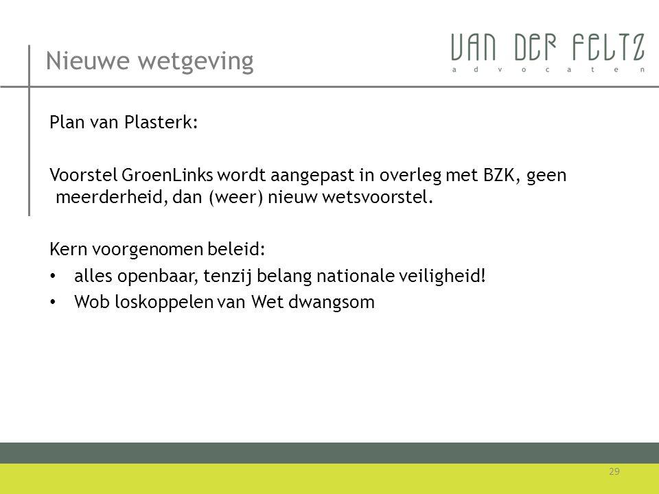 Nieuwe wetgeving Plan van Plasterk: Voorstel GroenLinks wordt aangepast in overleg met BZK, geen meerderheid, dan (weer) nieuw wetsvoorstel. Kern voor