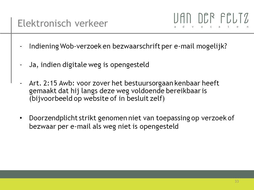 Elektronisch verkeer -Indiening Wob-verzoek en bezwaarschrift per e-mail mogelijk? -Ja, indien digitale weg is opengesteld -Art. 2:15 Awb: voor zover
