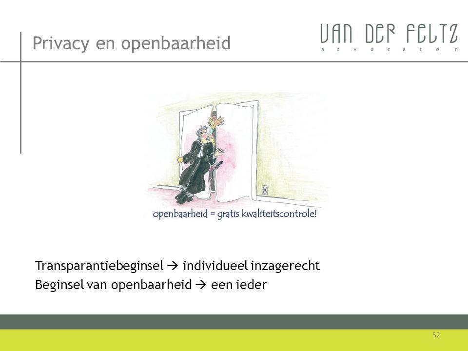 Privacy en openbaarheid Transparantiebeginsel  individueel inzagerecht Beginsel van openbaarheid  een ieder 52