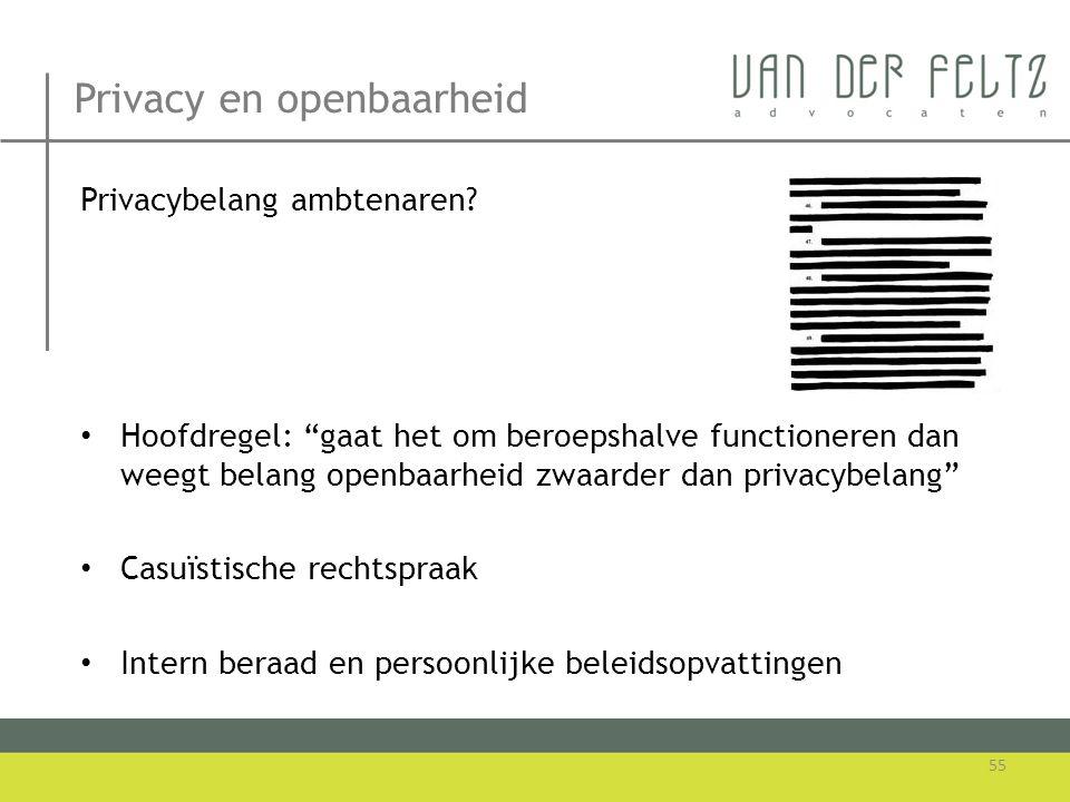 """Privacy en openbaarheid Privacybelang ambtenaren? • Hoofdregel: """"gaat het om beroepshalve functioneren dan weegt belang openbaarheid zwaarder dan priv"""