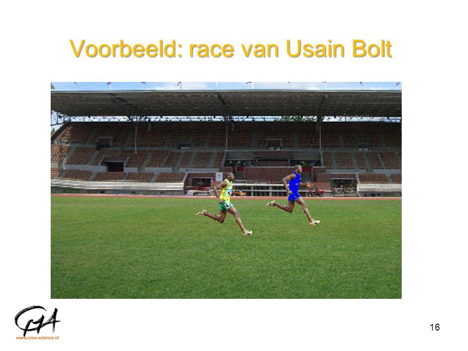 Voorbeeld: race van Usain Bolt 16