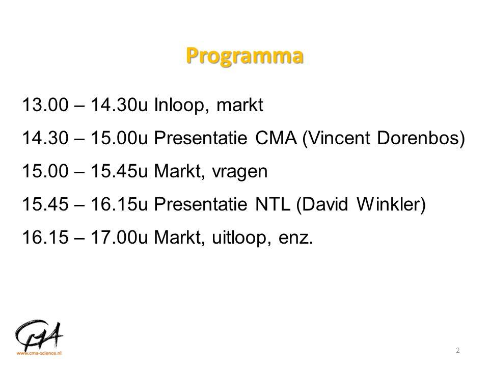 Programma 13.00 – 14.30u Inloop, markt 14.30 – 15.00u Presentatie CMA (Vincent Dorenbos) 15.00 – 15.45u Markt, vragen 15.45 – 16.15u Presentatie NTL (