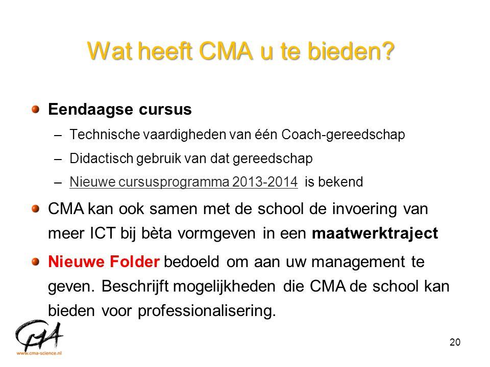 Wat heeft CMA u te bieden? Eendaagse cursus –Technische vaardigheden van één Coach-gereedschap –Didactisch gebruik van dat gereedschap –Nieuwe cursusp