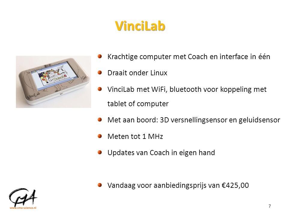 7 VinciLab Krachtige computer met Coach en interface in één Draait onder Linux VinciLab met WiFi, bluetooth voor koppeling met tablet of computer Met