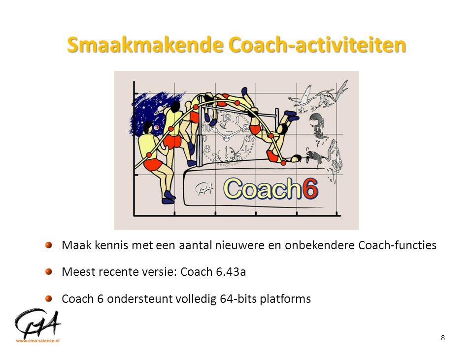Smaakmakende Coach-activiteiten 8 Maak kennis met een aantal nieuwere en onbekendere Coach-functies Meest recente versie: Coach 6.43a Coach 6 onderste