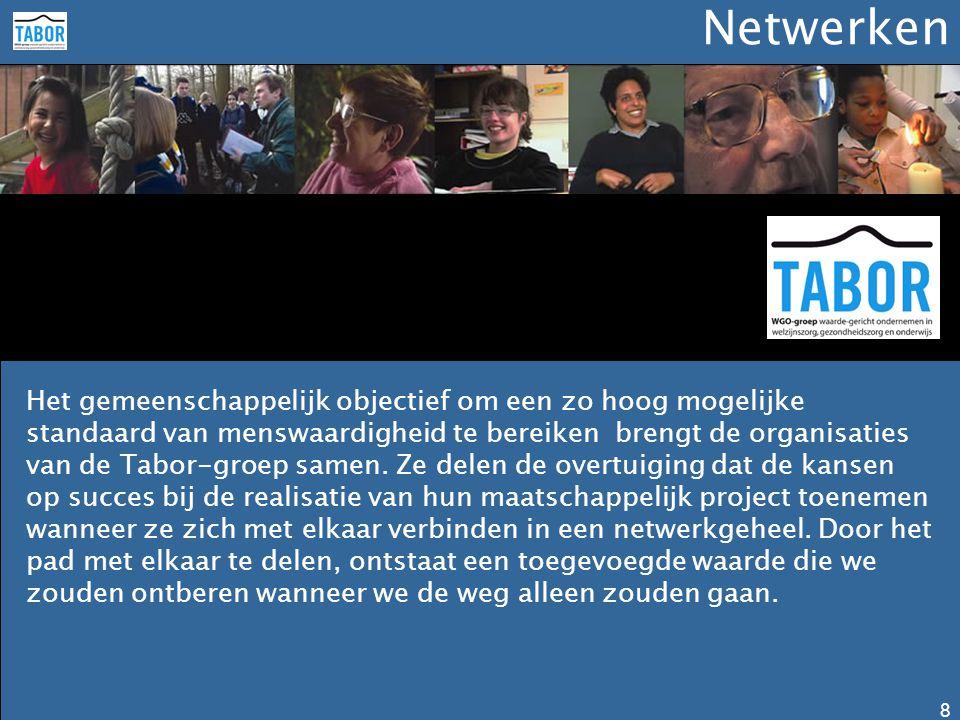 Netwerken 8 Het gemeenschappelijk objectief om een zo hoog mogelijke standaard van menswaardigheid te bereiken brengt de organisaties van de Tabor-gro