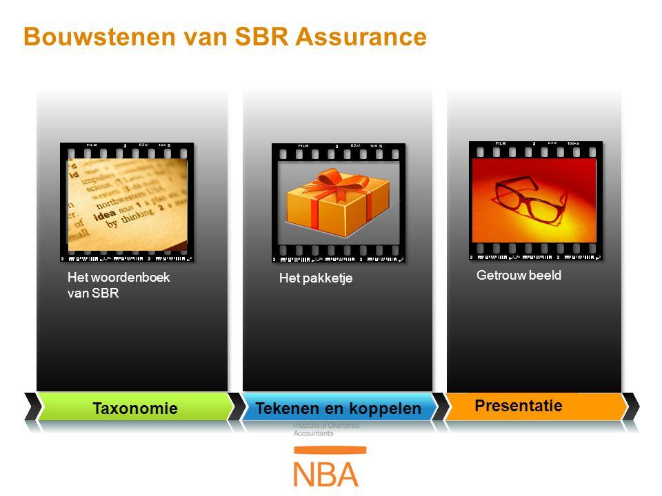Getrouw beeld Taxonomie Het woordenboek van SBR Tekenen en koppelen Presentatie Het pakketje Bouwstenen van SBR Assurance