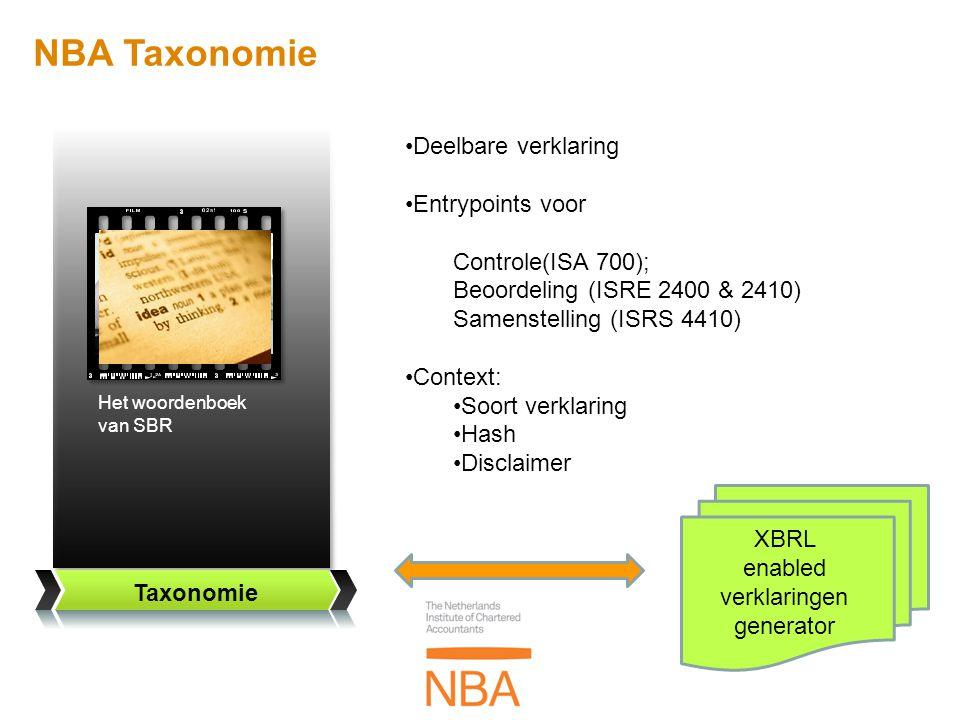 The fair view Taxonomie Het woordenboek van SBR NBA Taxonomie •Deelbare verklaring •Entrypoints voor Controle(ISA 700); Beoordeling (ISRE 2400 & 2410)