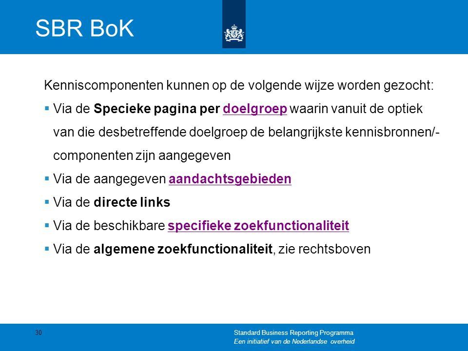 SBR BoK Kenniscomponenten kunnen op de volgende wijze worden gezocht:  Via de Specieke pagina per doelgroep waarin vanuit de optiek van die desbetref