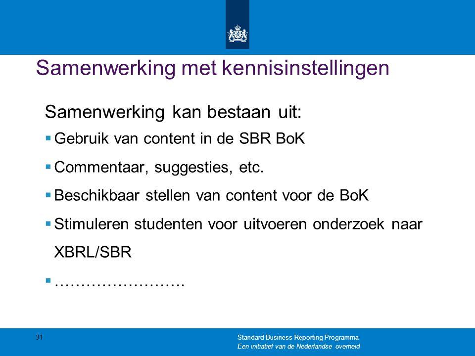 Samenwerking met kennisinstellingen Samenwerking kan bestaan uit:  Gebruik van content in de SBR BoK  Commentaar, suggesties, etc.  Beschikbaar ste