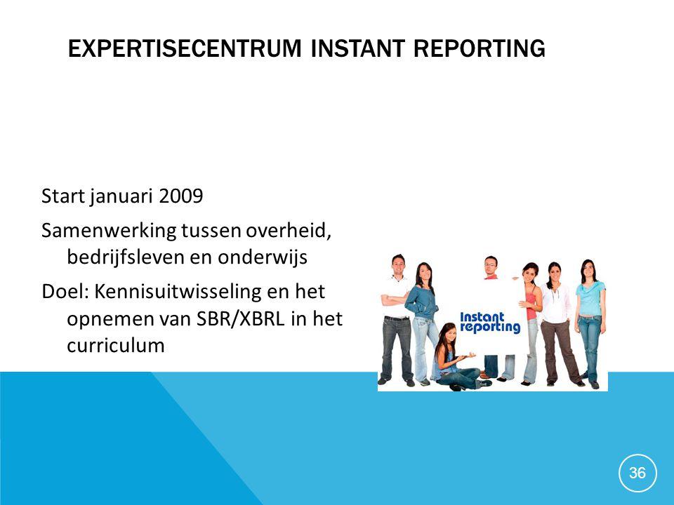 EXPERTISECENTRUM INSTANT REPORTING Start januari 2009 Samenwerking tussen overheid, bedrijfsleven en onderwijs Doel: Kennisuitwisseling en het opnemen