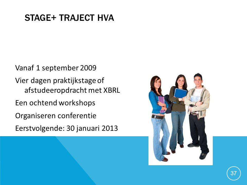 STAGE+ TRAJECT HVA Vanaf 1 september 2009 Vier dagen praktijkstage of afstudeeropdracht met XBRL Een ochtend workshops Organiseren conferentie Eerstvo