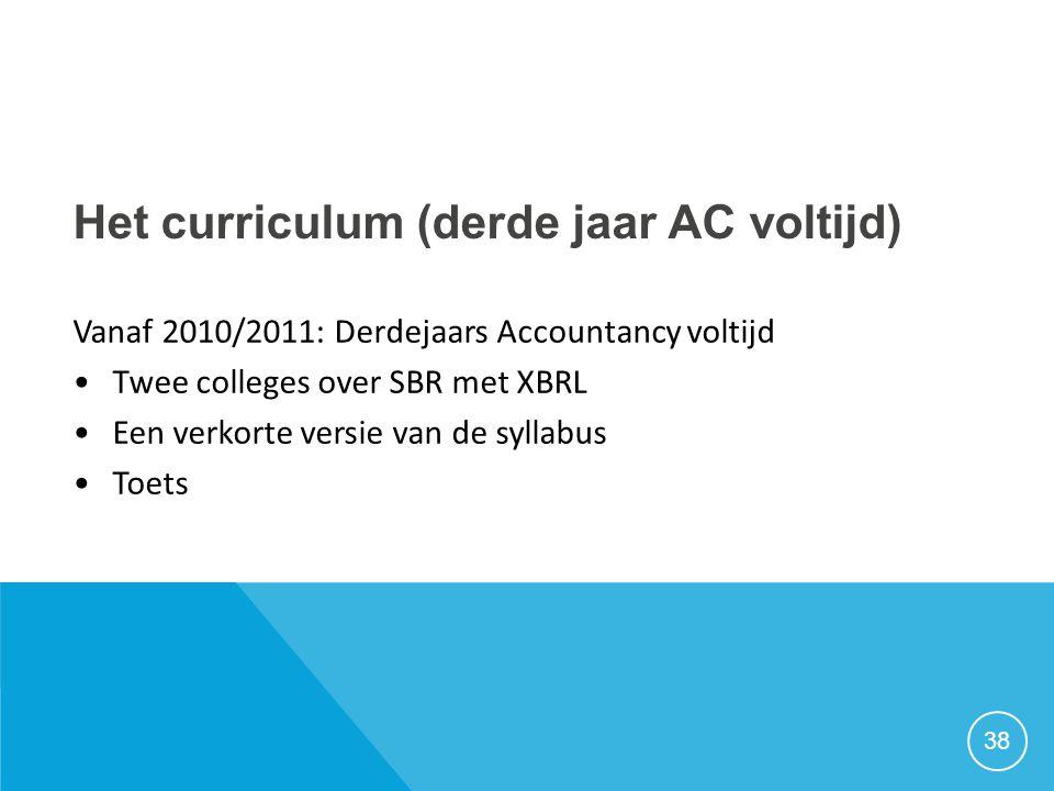 Het curriculum (derde jaar AC voltijd) Vanaf 2010/2011: Derdejaars Accountancy voltijd •Twee colleges over SBR met XBRL •Een verkorte versie van de sy