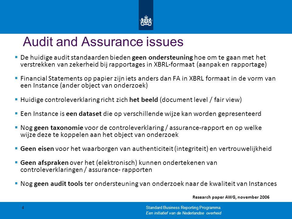 Audit and Assurance issues  De huidige audit standaarden bieden geen ondersteuning hoe om te gaan met het verstrekken van zekerheid bij rapportages i
