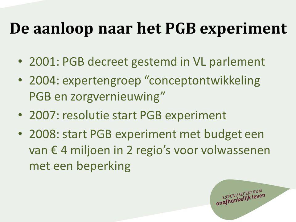 """De aanloop naar het PGB experiment • 2001: PGB decreet gestemd in VL parlement • 2004: expertengroep """"conceptontwikkeling PGB en zorgvernieuwing"""" • 20"""