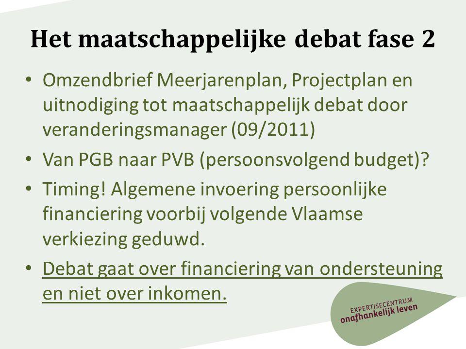Het maatschappelijke debat fase 2 • Omzendbrief Meerjarenplan, Projectplan en uitnodiging tot maatschappelijk debat door veranderingsmanager (09/2011)