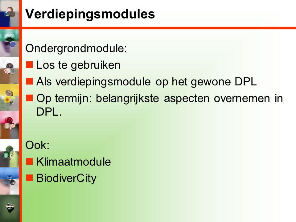 Verdiepingsmodules Ondergrondmodule:  Los te gebruiken  Als verdiepingsmodule op het gewone DPL  Op termijn: belangrijkste aspecten overnemen in DP
