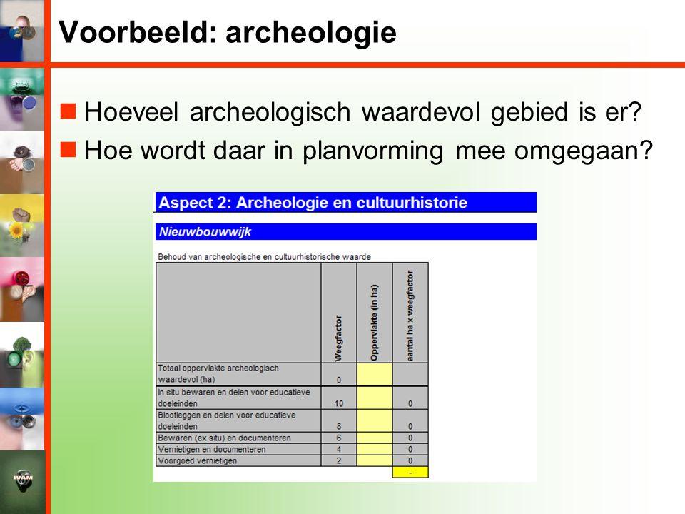 Voorbeeld: archeologie  Hoeveel archeologisch waardevol gebied is er?  Hoe wordt daar in planvorming mee omgegaan?