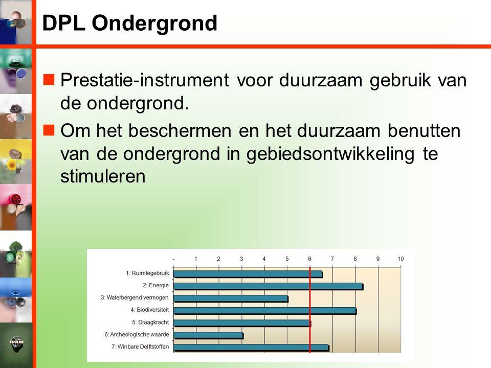 DPL Ondergrond  Prestatie-instrument voor duurzaam gebruik van de ondergrond.  Om het beschermen en het duurzaam benutten van de ondergrond in gebie