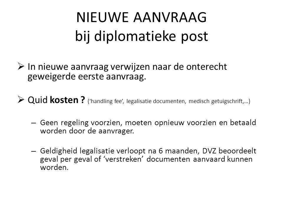NIEUWE AANVRAAG bij diplomatieke post  In nieuwe aanvraag verwijzen naar de onterecht geweigerde eerste aanvraag.  Quid kosten ? ('handling fee', le