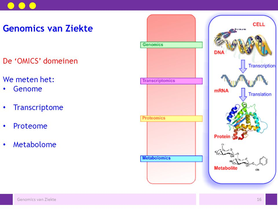 Genomics van Ziekte Wat kunnen we meten in de cel.