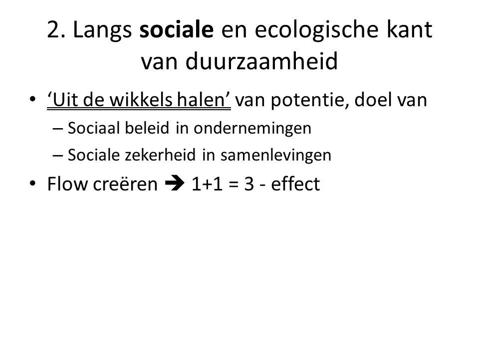 • 'Uit de wikkels halen' van potentie, doel van – Sociaal beleid in ondernemingen – Sociale zekerheid in samenlevingen • Flow creëren  1+1 = 3 - effect 2.