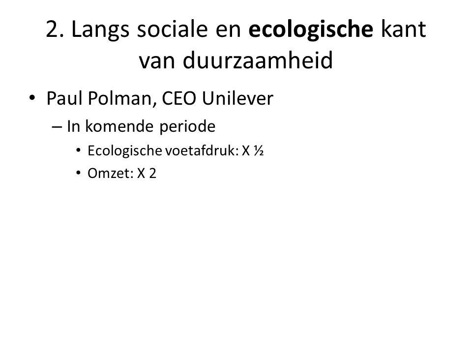 • Paul Polman, CEO Unilever – In komende periode • Ecologische voetafdruk: X ½ • Omzet: X 2 2.